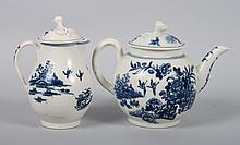 Worcester pearlware teapot and creamer
