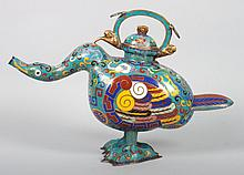Chinese cloisonné enamel goose-form wine pot