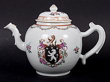 Chinese Export armorial porcelain teapot