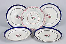 Four Chinese Export porcelain plates and bowl