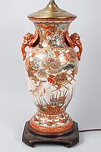 Japanese Kutani porcelain vase mounted as a lamp