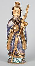 Japanese cloisonne and ivory figure of deities