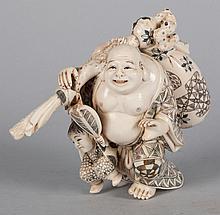 Japanese carved ivory Hotai