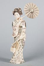 Japanese carved ivory geisha