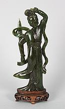 Chinese carved jade female guardian