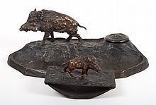 Continental bronze figural standish and blotter