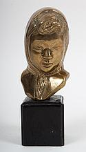 Japanese School, 20th c.  Polished bronze bust