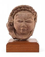 Indian stone head, possibly Ganga