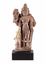 Indian carved stone figural group with Parvati