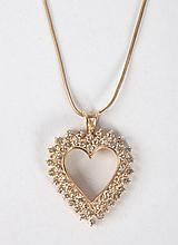 Lady's 14K gold & diamond heart-shaped pendant