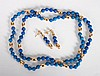 Lady's 14K gold & lapis lazuli necklace & earrings