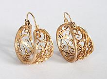Pair of lady's 14K gold filigree hoop earrings