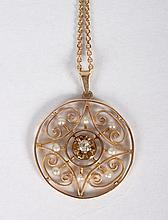Lady's 14K gold, diamond & seed pearl pendant