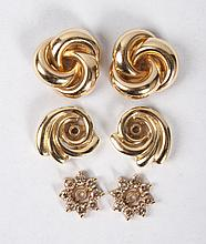 Three pairs of 14K gold earring jackets