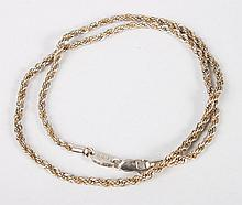14K gold and sterling silver rope-twist necklace