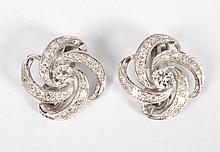 Lady's 14K white gold & diamond earrings