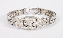 Lady's Geneva 14K white gold and diamond watch