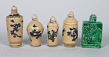 Five Chinese porcelain snuff bottles