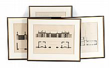 Four architectural engravings after Robert Adam