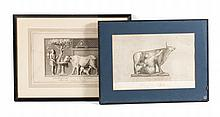 Two Italian bovine themed engravings, each framed