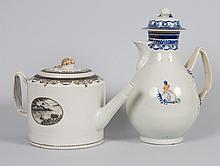 Chinese Export porcelain teapot and chocolate pot
