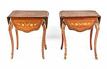 Pair of Louis XV style drop leaf side tables