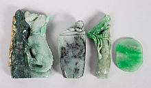 3 Chinese jade or hardstone chops & a bead