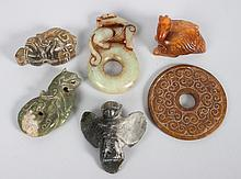 6 Chinese carved jade or hardstone objects
