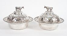 Pair of coin silver covered butter dishes
