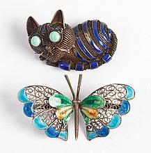 Chinese & Italian enameled silver filigree pins