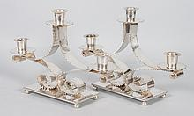 Pair of German Arts & Crafts plated candelabra