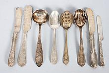 Seven assorted coin silver flatware pieces