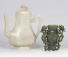 Chinese carved jade teapot and urn