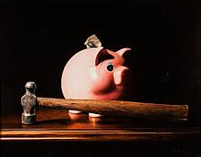 Vinson. Still Life with Piggy Bank, oil on board