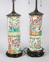 Pair of Rose Medallion porcelain vase lamps