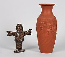 Japanese redware vase and miniature bronze