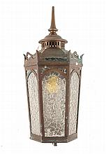 Gothic Revival copper and cracked ice glass light