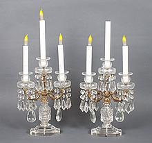 Pair of Anglo-Irish brass-mounted glass candelabra