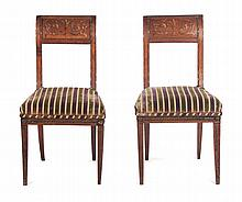 Pair of Italian painted fruitwood side chairs