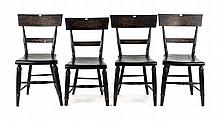 Four fancy painted wood side chairs