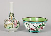 Chinese porcelain vase & enameled copper bowl