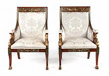 Pair of French Empire style upholstered armchairs