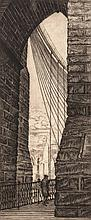 Issac Friedlander. Brooklyn Bridge, engraving