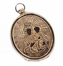 Russian miniature icon in silver riza pendant