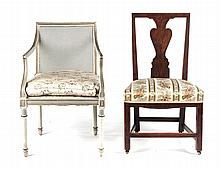 George I side chair and Regency painted chair