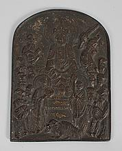 Chinese cast bronze Buddhist plaque