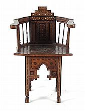 Moorish inlaid wood armchair