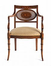 Regency style satinwood armchair