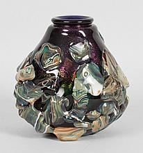 Contemporary amethyst and agate art glass vase
