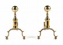Pair of Federal brass cannonball andirons